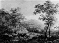 travellers on a path in an italianate valley by anthony jacobus offermans