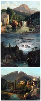 italianate landscapes (3 works) by raimondo scoppa