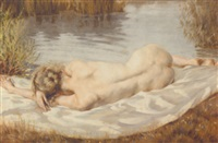 a reclining nude on the banks of a river by peter von hamme-voitus