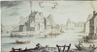 view of a town on a river with figures fishing and in boats by albert flamen
