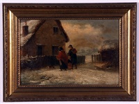 family group by a cottage in winter by thomas smythe