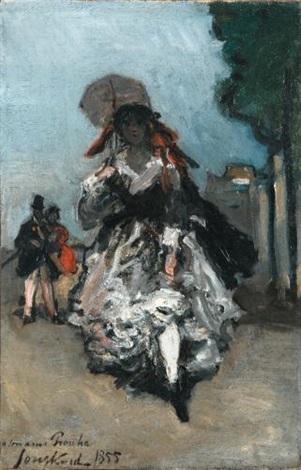 jeune femme à lombrelle paris by johan barthold jongkind