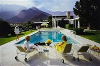 poolside gossip : lita baton, nelda lins and helen dzo dzo at richard neutra-designed house of edgar kaufman, palm springs by slim aarons