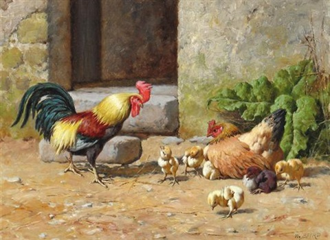 Rooster Hen And Chicks By William Baptiste Baird On Artnet