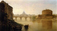 sunset, the tiber at rome by george loring brown