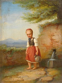 young girl at the well by johann georg meyer von bremen