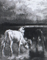 cows drinking in a marsh by charles coumant