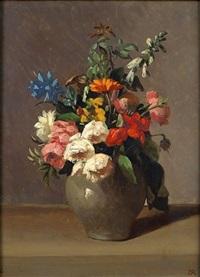 nature morte au vase de fleurs sur un entablement by henri rousseau
