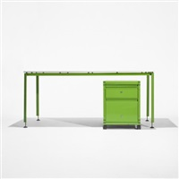 desk and file cabinet from the administrative offices at the centre georges pompidou (set of 2) by michel cadestin and georges laurent