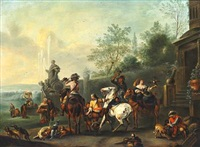 before the falconry. men, women and children with horses, falcons and dogs are gathered outside a house by philips wouwerman