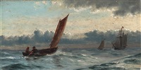 two fishermen in a fishing boat by carl (jens erik c.) rasmussen