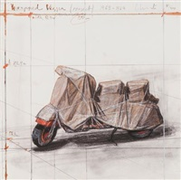 wrapped vespa, project; 1963-64 by christo and jeanne-claude