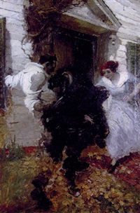 men fighting outside house, woman prepares to enter fray by walt louderback