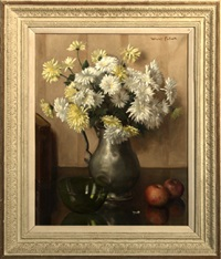 still life with yellow and white daisies by willy fleur