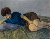 young woman, reclining by raphael soyer