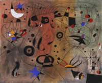 femme a la blonde aisselle coiffant sa chevelure a la lueur des etoiles (from the series miro constellations) by joan miró