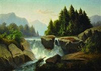 mountain landscape with waterfall by adolf kosárek