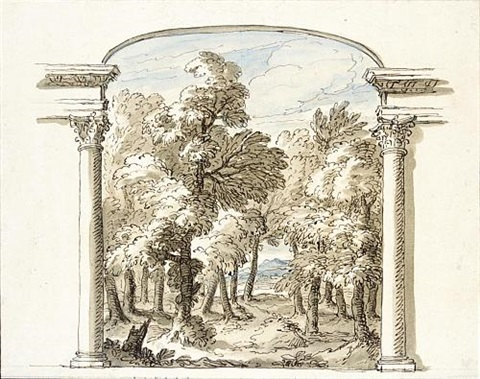 a classical landscape seen through an arch by sir james thornhill