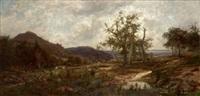 paisaje con campesinos y ganado by josé armet portanel