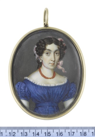 a lady wearing blue décolleté dress with ruched cap sleeves and waist belt white lace trim multi stranded coral necklace diamond pendent earrings by johannes baptista van acker