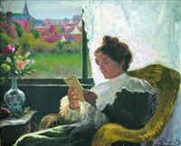 reading by the window by henry léon jacquet