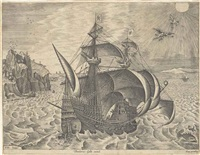 a man of war sailing to the right (the fall of icarus), by f. huys by pieter brueghel the elder