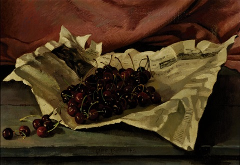 still life with cherries on a newspaper by ger gerrits