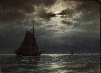 seascape with sailings ships in moonlight by carl ludwig bille