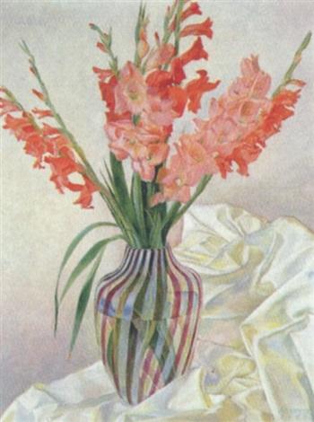 gladiolen in einem gesreiften glas by günther karwiese