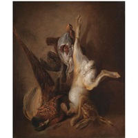 a still life with a hare, pheasant and grouse by jan weenix