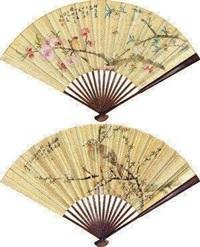 溪山话旧 梅花 (recto-verso) by liu deliu and xu dongzeng