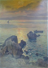 paysage au soleil couchant by antoine ponchin