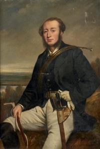 portrait de monsieur de la fosse, du chateau du fay, en costume de chasse à courre by françois gabriel guillaume lépaulle