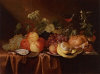 still life of peaches, grapes, a peeled lemon, an oyster, a bread roll and a glass of wine, all on a draped table by jan pauwel gillemans the elder