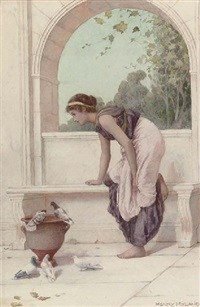 a classical maiden on a terrace with doves and pigeons by henry ryland