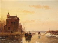 winter landscape with a fort by andreas schelfhout