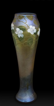very tall gold iridescent grounded vase painted and engraved with blackberry blossoms by louis comfort tiffany