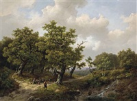 a wooded landscape with figures resting near a stream by marinus adrianus koekkoek the elder