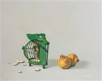 green cage with yellow pomegranate by wee shoo leong