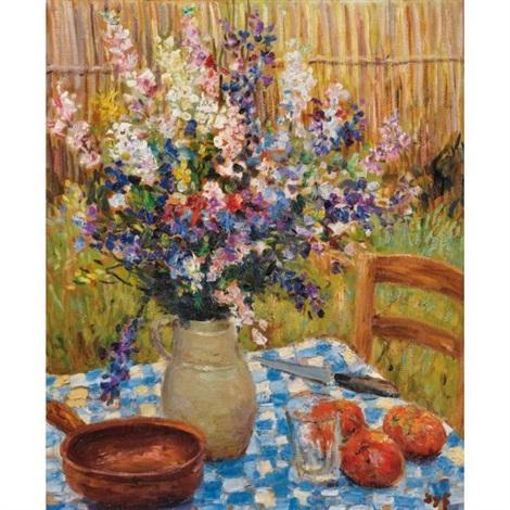vase de fleurs et oranges sur une nappe à carreaux by marcel dyf