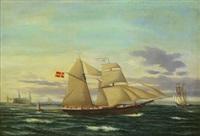 segelskepp i öresund, i bakgrunden kronborgs slott by jens thielsen locher
