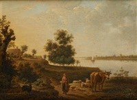 marcheurs au bord du cours d'eau by hendrick joseph anthonissen