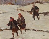 jeunes filles dans un paysage enneigé by teodor axentowicz