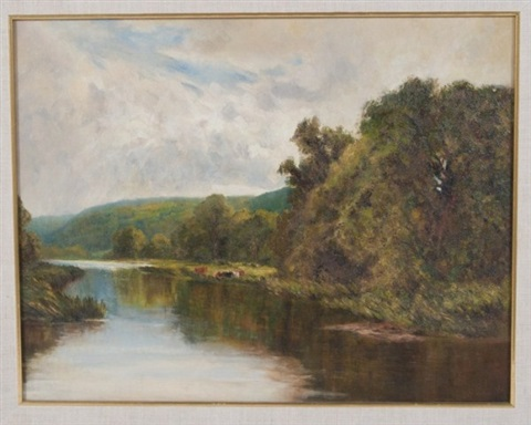 cows beside a river by henry h parker