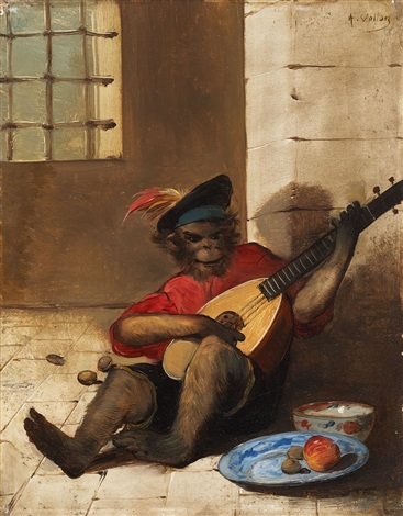 a monkey playing the lute by antoine vollon