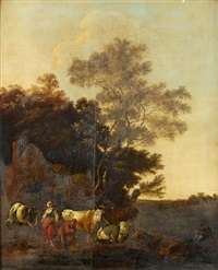a milkmaid and a shepherd milking their herd before an open landscape by adam de colonia