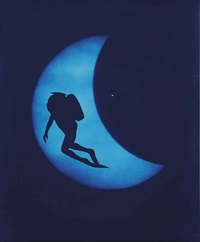 diver on lunar eclipse by eve sonneman