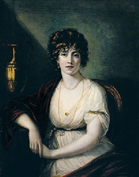 portrait of a lady wearing a white dress with red robes by robert fagan