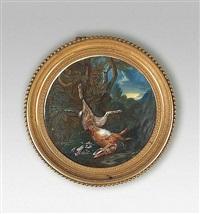 trophée au lièvre et oiseaux by gérard van spaendonck