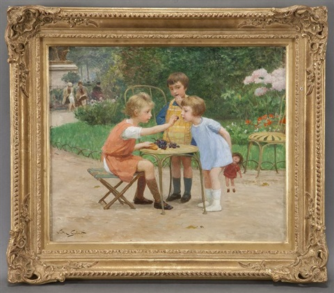 children eating grapes in a park by victor gabriel gilbert